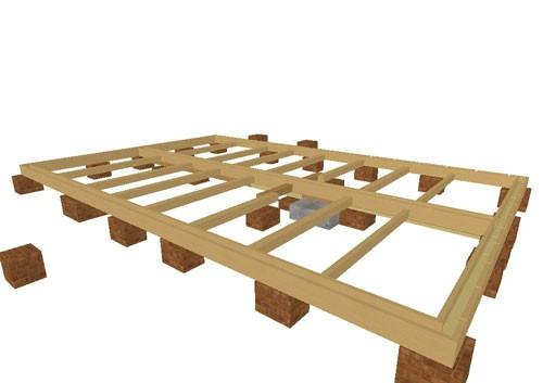 Схема пола в доме из дерева на опорах-столбахСхема пола в доме из дерева на опорах-столбах