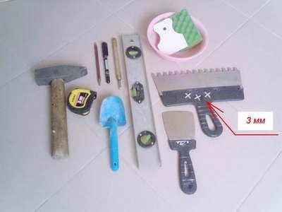 Инструмент, который потребуется для укладки плитки