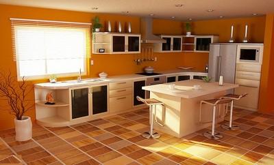 Благодаря цветовой гамме плитки, кухня как будто всегда наполнена солнечным светом