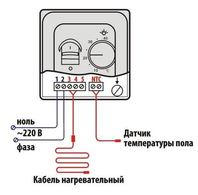 Электрическая схема подключения терморегулятора