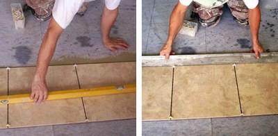 Обязательный контроль за горизонтальностью  и общим уровнем укладываемых плиток