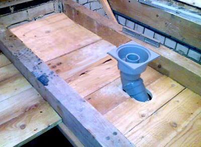 При монтаже чернового пола не забываем про систему отвода воды из моечной