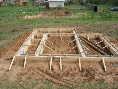 После устройства ленточного фундамента, можно переходить к работе над бетонным полом бани