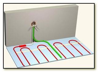 Подготавливаем место под установку терморегулятора: подводим к нему электропитание (скрытое или открытое, по желанию)