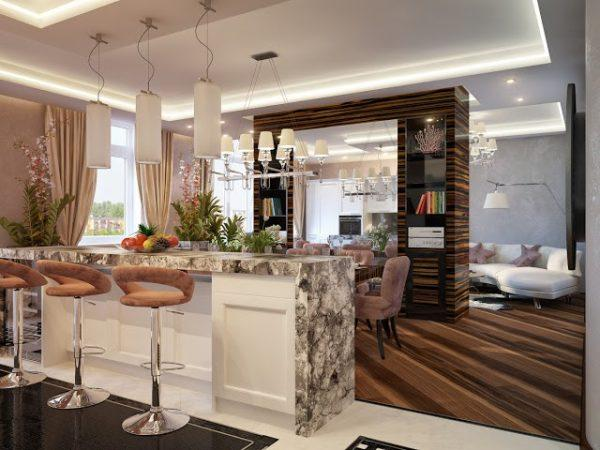 Гостиная-кухня в стиле модерн