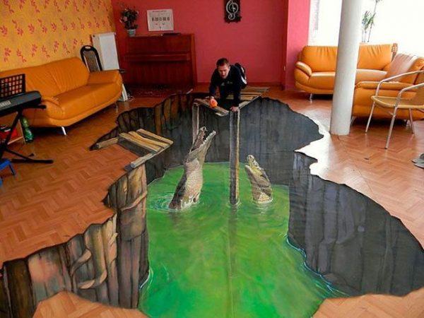 Декоративный пол 3Д. Объемное изображение на вашем полу