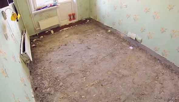 Старый пол демонтирован. Можно обустраивать новый