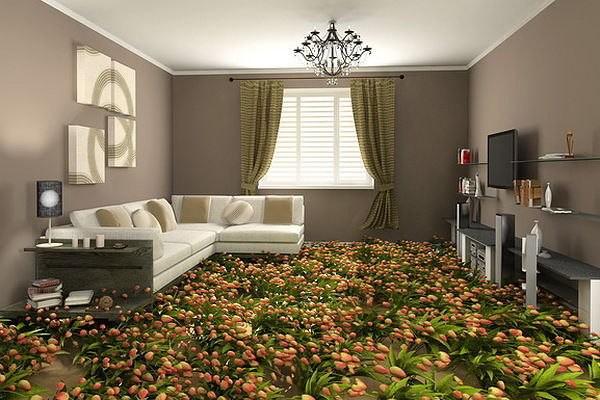 3 д пол с реалистичным цветочным узором