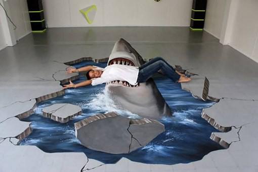 3d полы с изображением акулы - один из креативных вариантов