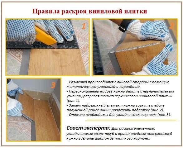 Правила раскроя виниловой плитки
