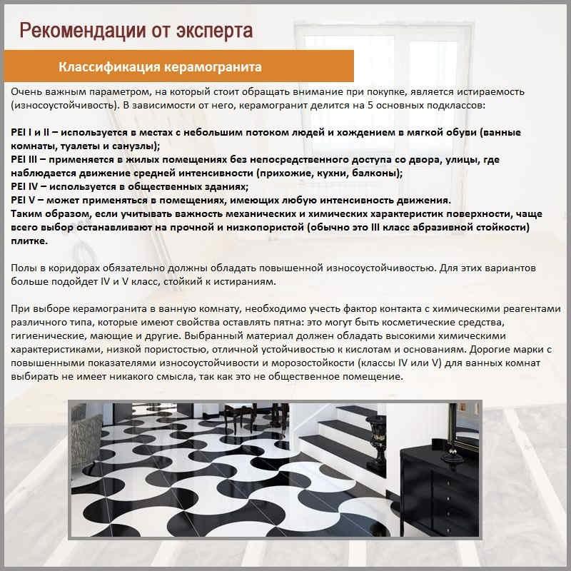 Классификация керамогранита