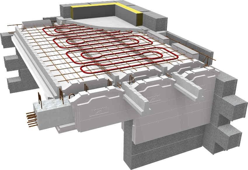 3D-схема обустройства водяного теплого пола в частном доме
