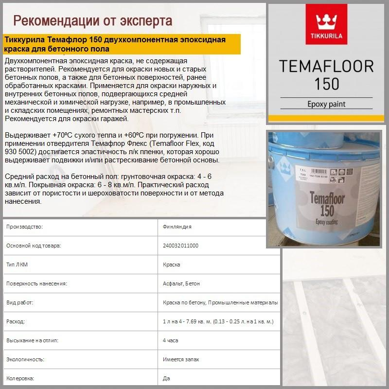 Тиккурила Темафлор 150 двухкомпонентная эпоксидная краска для бетонного пола