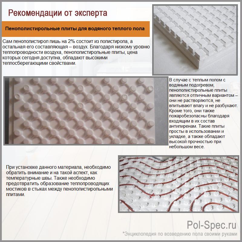Пенополистирольные плиты для водяного теплого пола