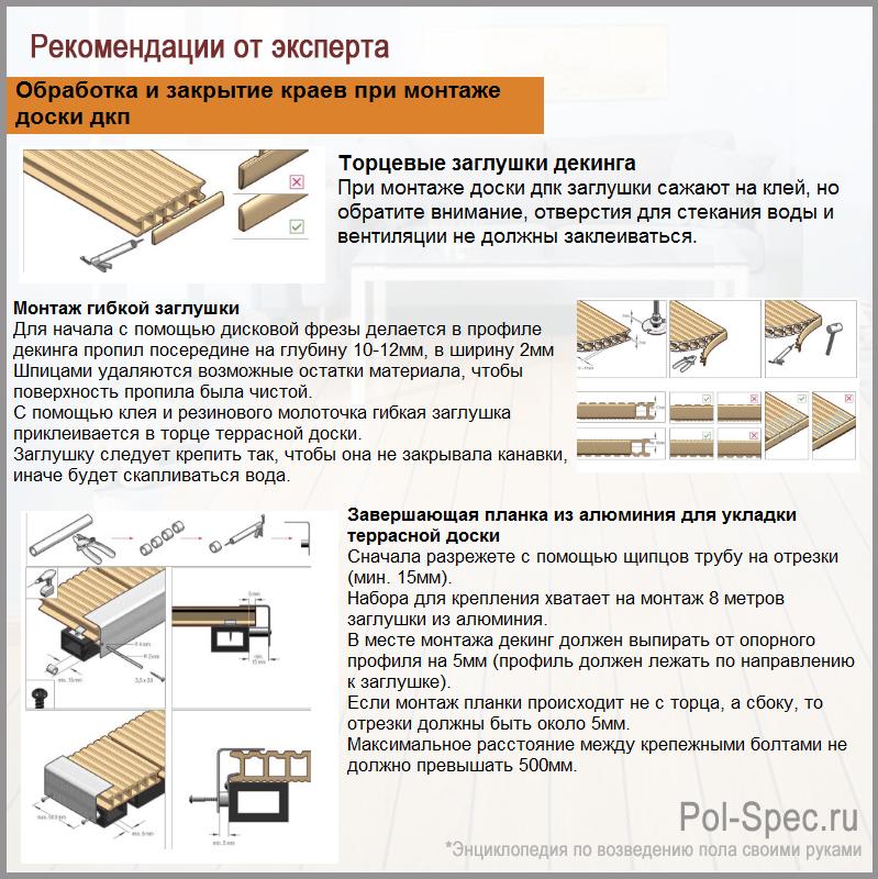 Обработка и закрытие краев при монтаже доски дкп