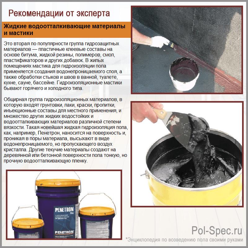 Жидкие водоотталкивающие материалы и мастики