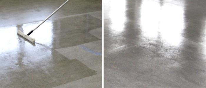 Нанесение лака на бетонный пол