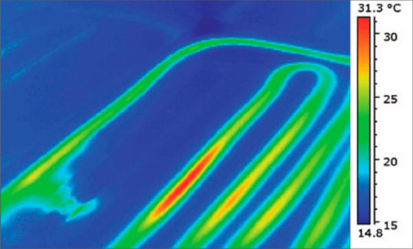 Термограмма выявила место утечки в системе теплого пола
