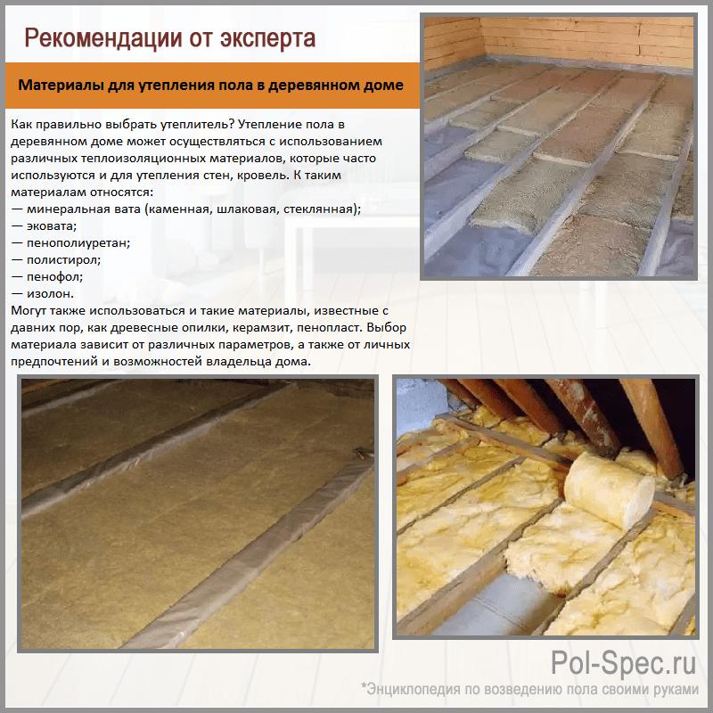 Материалы для утепления пола в деревянном доме