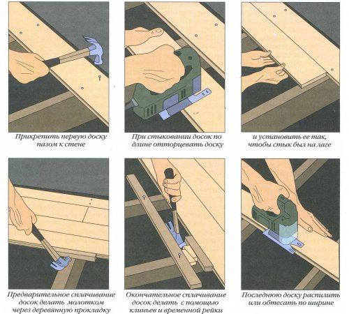 Укладка на лаги досок, фанеры или другого чернового покрытия