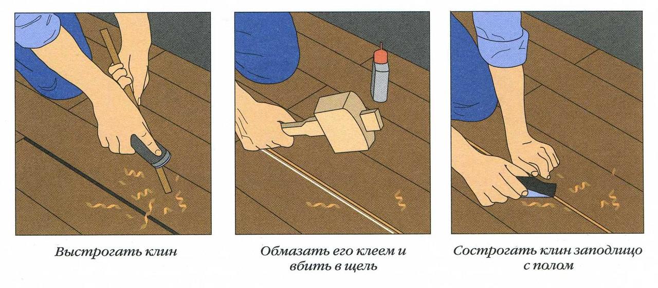 как убрать скрип деревянного пола