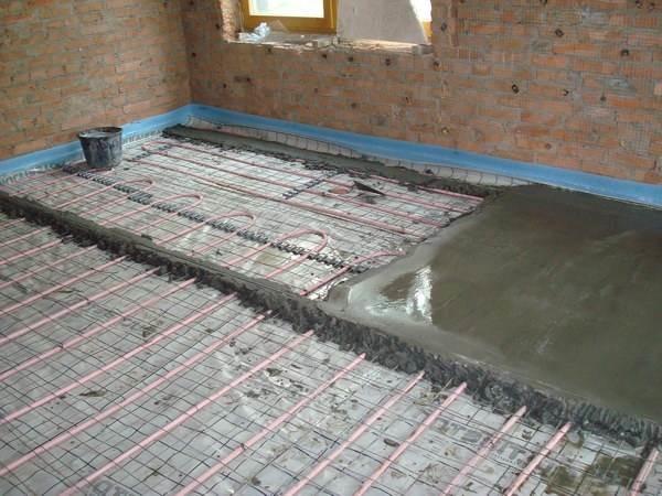 Заливка бетонной стяжкой