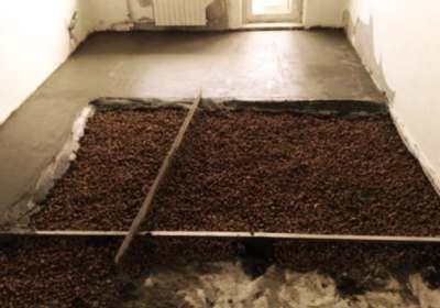 Пример утепления пола гаража керамзитом и заливка стяжки
