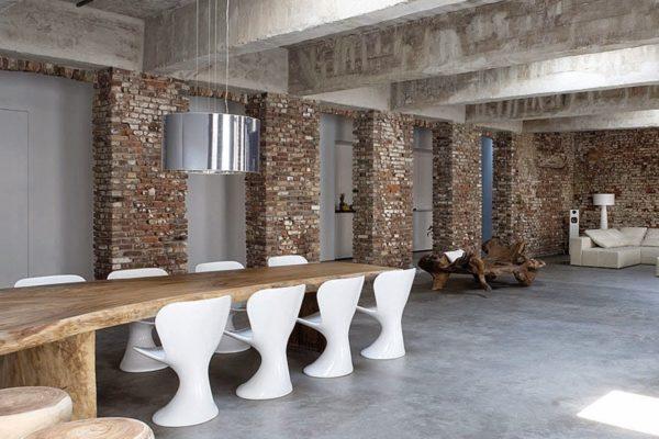 Стяжка пола в частном доме. Вариант дизайна интерьера с бетонным полом