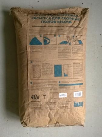 Сухая керамзитовая засыпка Кнауф (обратная сторона упаковки)