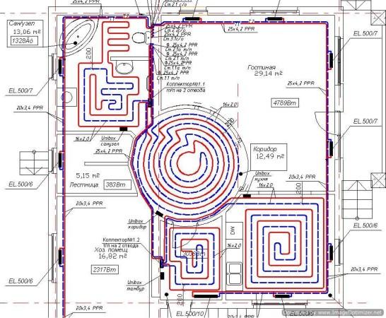 Схематическое проектирование тёплых водяных полов