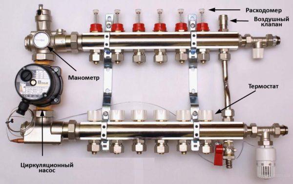 Схема коллектора для теплого водяного пола