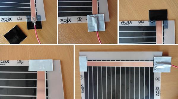 Плотно зафиксировать изоляционным скотчем места присоединения клемм (см. Схему нижк) на нагревательной пленке и место среза медной полосы
