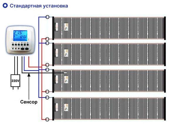 Стандартная электрическая схема подключения инфракрасного пленочного теплого пола