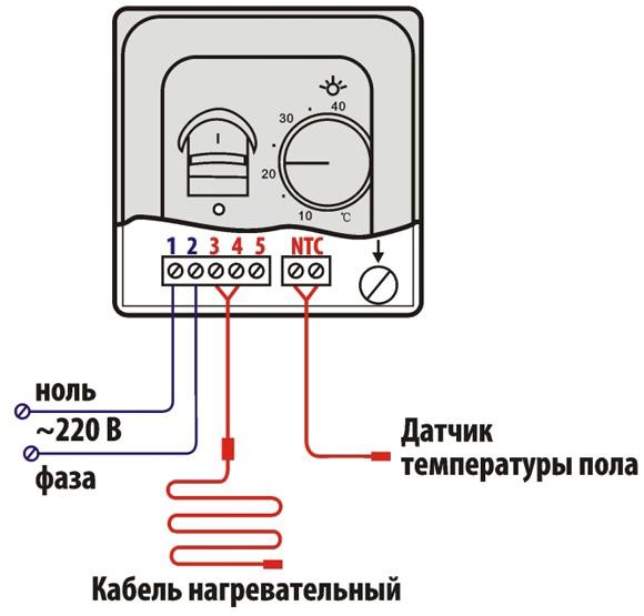 Схема подключения питания, датчика температуры и контура пола к терморегулятору