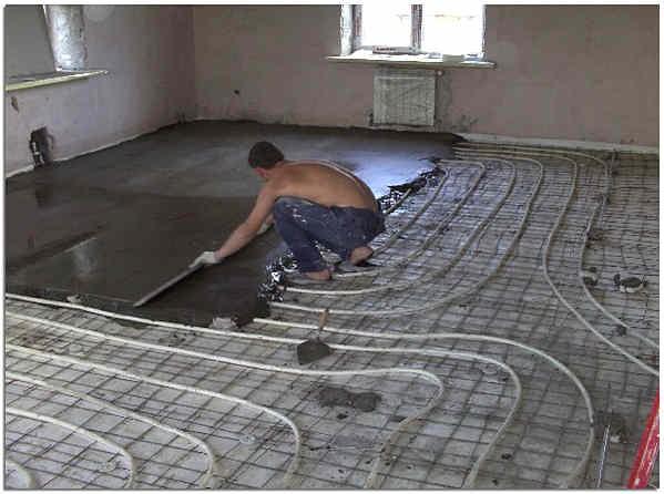 Укладка водяного тёплого пола в бетонную стяжку