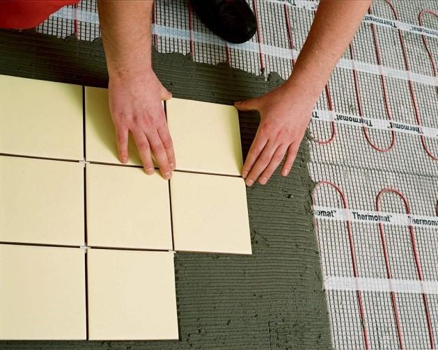 Монтаж плитки поверх электрических матов