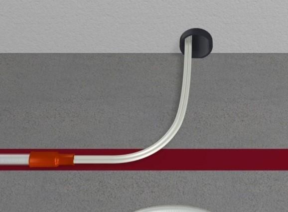Шаг 11 – вывод холодного конца кабеля сквозь стену