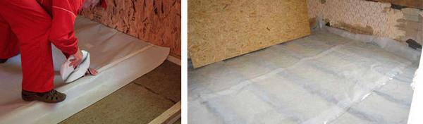 Важно, чтобы пароизоляционный материал был уложен на пол правильной стороной, иначе он не будет «работать» как следует