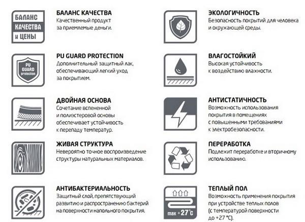 На картинке представлены некоторые из обозначений, которые помогут определить качество и характерные особенности материала