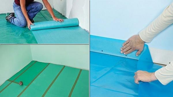 Последний шаг – фиксация нескольких частей подложки с помощью малярного или обычного скотча. К стене, полу ее не фиксируют
