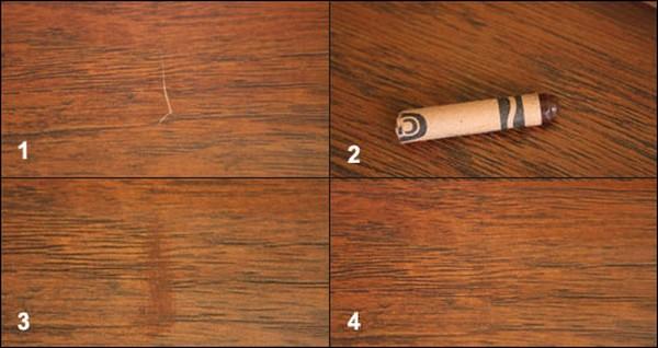 Если на ламинате появились царапины, их можно устранить с помощью специального воскового карандаша