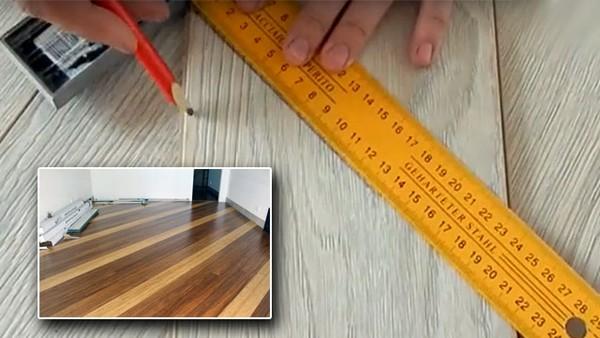 Сначала нужно точно замерить пол и сделать метки карандашом