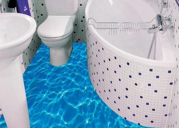 В ванной комнате нередко монтируют наливной полиуретановый пол, располагая между его слоями объемные изображения океана, его обитателей