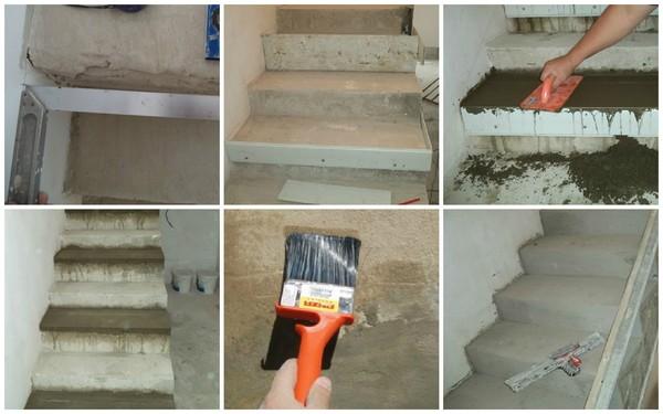 Перед облицовкой лестницы ламинатом нужно качественно подготовить поверхность – устранить перепады, выпирающие элементы